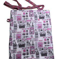 Tote bag réversible et pliable - style shabby chic- tissus coton imprimé couture et fleurs