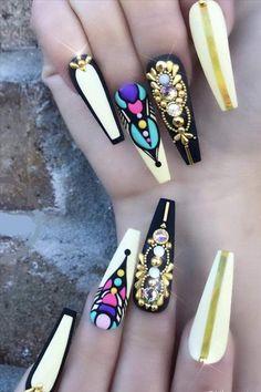 Acrylic Nail Designs, Nail Art Designs, Acrylic Nails, Coffin Nails, Hot Nails, Swag Nails, Bling Nails, Gorgeous Nails, Pretty Nails