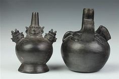 TWO CHIMÚ BLACK WARE FIGURAL VESSELS. 1100-1450 A.D. - Larger: 7 1/2 in. high.