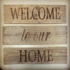 Rustic Welcome to our Home Signs by MyCharmersMarket on Etsy, $24.95