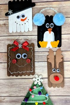 Christmas Craft Sticks The Keeper of the Cheerios Christmas Craft Sticks popsicle stick Christmas crafts Easy kids Christmas crafts rudolph snowman penguin gingerbread christmas tree Popsicle Stick Christmas Crafts, Diy Christmas Ornaments, Xmas Crafts, Craft Stick Crafts, Preschool Crafts, Fun Crafts, Craft Sticks, Christmas Christmas, Preschool Kindergarten