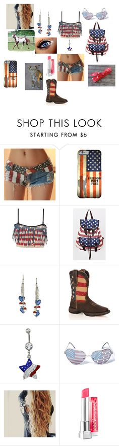 """July 4th outfit"" by bella-mendenhall ❤ liked on Polyvore featuring interior, interiors, interior design, home, home decor, interior decorating, Hot Topic, Durango, Gasoline Glamour and Maybelline"
