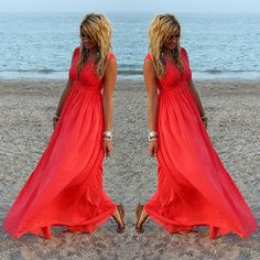2015 nuevas mujeres del v cuello vestidos verano de Boho Casual Loose Beach Maxi largo vestido de gasa en Vestidos de Moda y Complementos Mujer en AliExpress.com | Alibaba Group