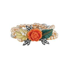 La Belle Rose 'Elyse' #Bracelet by Chloe and Isabel. Light peach pearls and clear crystal rhinestone chain form this #romantic braided stretch bracelet. Centered with a gorgeous coral rose and leaf motifs, this statement-making piece is too pretty to save for special occasions - wear it everyday! www.chloeandisabelseattle.com