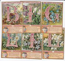 liebig con iniziali di fiori - 6 figurine de Liebig  - san526ted pubbl nel 1897