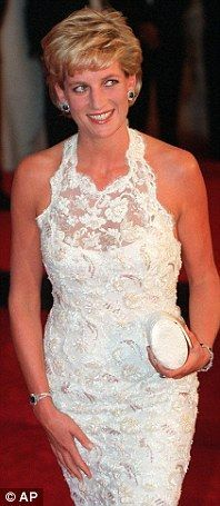 Princess Diana in 1996: At a charity dinner in Washington wearing Catherine Walker leaver lace gown