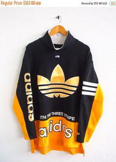 BIG SALE 25% Vintage 80's ADIDAS Big Logo Gold Trefoil Sportswear Multicolor Run Dmc Pullover Crewneck yellow Sweater Sweatshirt Size L