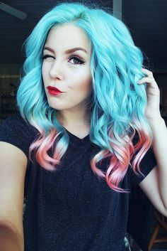 cotton candy blue and pink hair