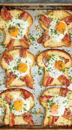 Sheet Pan Egg-in-a-Hole A quick classic that comes together right on a sheet pan! Less mess, less fuss and just way easier than the stovetop version! - 40 Excellent Egg Recipes: Best For Breakfast Or Brunch Cooking Recipes, Healthy Recipes, Healthy Food, Chef Recipes, Healthy Eating, Damn Delicious Recipes, Waffle Maker Recipes, Cooking Eggs, Recipies