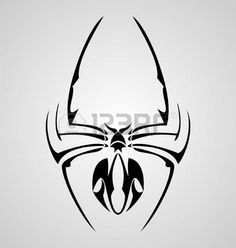 Black Tribal Spider Tattoo Design