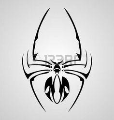 Black Tribal Spider Tattoo Design