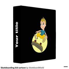 Skateboarding kid cartoon vinyl binder