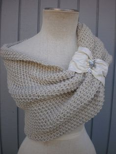 "bridal bolero  shrug  custom order smmd by denizy03 on Etsy, $114.00 OR ""I CAN KNIT THIS MYSELF""!!!! Should be easy pattern."