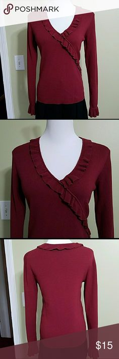 Ann Taylor Loft burgundy sweater Ann Taylor Loft burgundy sweater.  In great used condition. Length is about 22 inches.  Bust is about 34 inches.  Materials shown in pictures. Ann Taylor Sweaters