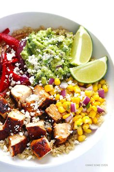 Chicken Quinoa Burrito Bowls - Make vegan by replacing chicken with black beans!