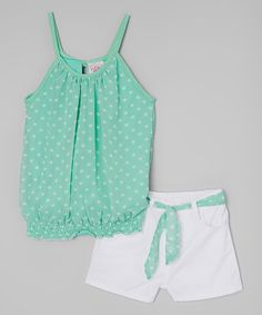 Look at this Real Love Mint Heart Tank & Shorts - Infant & Toddler on today! - Look at this Real Love Mint Heart Tank & Shorts – Infant & Toddler on today! Look at this Real Love Mint Heart Tank & Shorts – Infant & Toddler on today! Trendy Toddler Girl Clothes, Toddler Girl Style, Toddler Girl Outfits, Toddler Fashion, Kids Fashion, Toddler Girls, Outfits Niños, Trendy Outfits, Kids Outfits