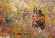 Gold Abstract Painting 9 x 12 Original Acrylic by Jimarieart
