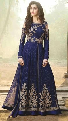 Buy Blue Georgette Abaya Style Anarkali Suit online, SKU Code: This Blue color Wedding anarkali suit for Women comes with Stones Faux Georgette. Robe Anarkali, Costumes Anarkali, Anarkali Suits, Abaya Fashion, Fashion Pants, Indian Fashion, Fashion Dresses, Couture Fashion, Abaya Style