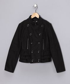 Love this Black Ruffle Military Jacket - Girls on #zulily! #zulilyfinds