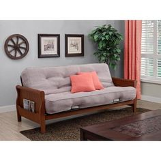 Better Homes and Gardens Wood Arm Futon with Coil Mattress Taupe * You can find more details by visiting the image link.