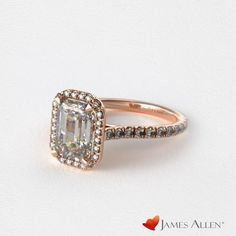 emerald cut rose gold engagement ring