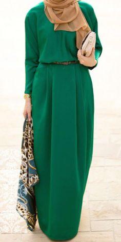 Green batwing Maxi Dress | Mode-sty shop stylish modest fashion