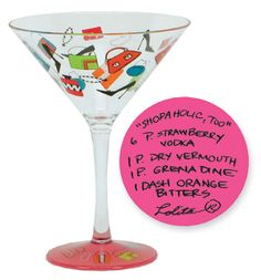 Shop til ya drop then enjoy a martini from the durable Shopaholic Too Acrylic Martini Glass. The Shopaholic Too Acrylic Martini Glass is from the Love My Party of Two collection.  $24