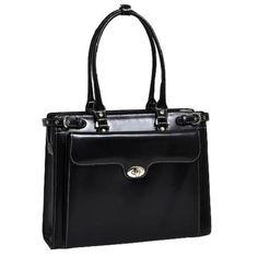 Italian Leather Laptop Briefcase Handbag Women Genuine Business Office Black