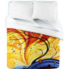 DENY Designs Madart Whirlwind Duvet Cover, King by DENY Designs. $228.51. Closure Metal snaps seen in snap closure view. Color Top Full color Color Bottom White. Fabric Ultra soft, 100-percent polyester microfiber. Manufacturing 6 color dye process, custom printed for every order. Metal snaps for closure. Turn your basic, boring down comforter into the super stylish focal point of your bedroom with this DENY Designs duvet cover. Custom printed when you order it, ...