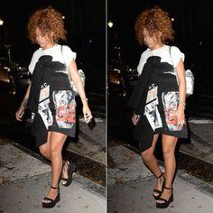 Rihanna wearing Sam MC London Spring 2016 black graphic print dress, Chanel Spring 2015 suede platform sandals, Kara silver leather backpack