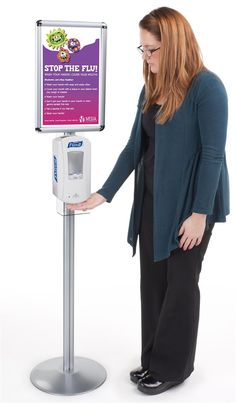 Sanitizing Station Includes a Purell® LTX™ Touch Free Dispenser Purell Hand Sanitizer Dispenser, Alcohol En Gel, Flu Prevention, Janitorial Services, Poster Display, Wash Stand, Commercial Flooring, Display Design