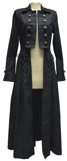 Manteau long noir court devant avec manches evasees elegant aristocrate > STEAMPUNK STORY - PENTA031 Shop : www.steampunk-story.com