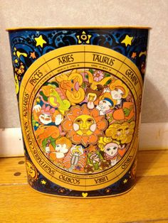 VNTG 70s ZODIAC RetroTrash Can by EuphoriaNineDesigns on Etsy, $45.00