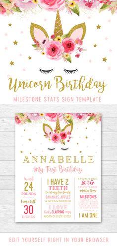 Unicorn Birthday Editable Milestones Stats Sign Template