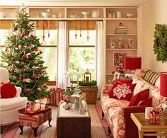 Christmas Cottage.. do RED lamps shades, throw pillows & ottoman and let's also do window shades! ❤it!