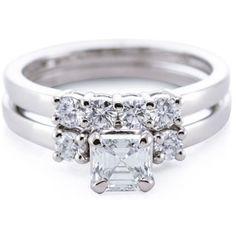 14k Gold 3/4ct TDW Asscher-cut Diamond Bewitched Lattice Engagement Ring Set