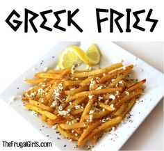 Fries with lemon, feta & oregano. Is your mouth watering yet? Another one of Penelope's favorite foods!