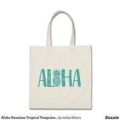 Aloha Hawaiian Tropical Turquoise Pineapple Tote Bag