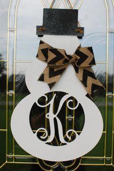 MONOGRAM SNOWMAN Door Hanger Christmas wreath white by OhGsDesigns