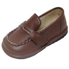 """Squeak Me Shoes Boys Brown Peany Loafer Toddler Shoe (4, Brown) by Squeak me Shoes. $31.90. Manufacturer Details: Squeak Me Shoes  """"Squeak Me Shoes was conceived after my sister and her husband returned home from China in February of 2007 with their beautiful new daughter. With a heart for adoption, they were thrilled to bring their little girl home to her forever family. An adorable one year old, she was soon turning heads with her wardrobe of squeaky shoes. ..."""