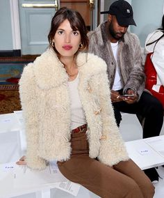 shearling coat + white knit + brown pants | jeanne damas