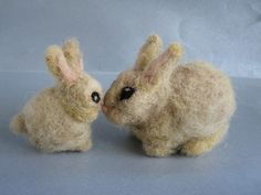 Needle Felted  Wool Animals- Waldorf inspired couple of bunnies-Soft sculpture--needle felt by Daria Lvovsky- -For custom orders. $44.00, via Etsy.