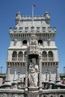 Statue of Mary at the Belem Tower in Lisbon