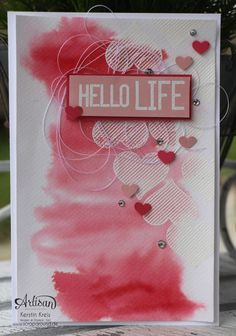 """""""Aquarell-Karten"""" - Stampin´ Up! Artisan DesignTeam BlogHop 05.02.2015 - Karte mit embossten Herzen und Aquarell-Hintergrund und Stempelset """"hello life"""" Detailbild03"""