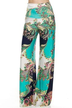 High Waist Fold Over Wide Leg Gaucho Palazzo Pants (Teal Paisley) – Niobe Clothing