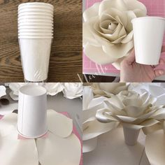 Option 2 you can use paper cups i purchased these at the dollar store glue it on the base of your paper flower or rose paperrosebackdrop paperroses paperrose backdrop paperflowers paperflower diy tutorials handmade handcut tips annnevilledesign Paper Flower Decor, Large Paper Flowers, Flower Crafts, Flower Decorations, Paper Flower Backdrop Wedding, Wedding Decorations, Wedding Ideas, Tissue Flowers, Giant Paper Flowers