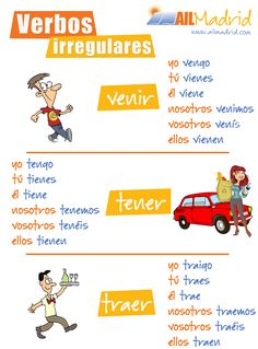 "Some of the irregular verbs in Spanish: ""venir"", ""tener"" y ""traer"". Learn how to apply them by taking online Spanish lessons! Spanish Phrases, Spanish Grammar, Spanish Vocabulary, Spanish 1, Spanish Words, Grammar And Vocabulary, Spanish Teacher, Spanish Classroom, Learning Spanish For Kids"