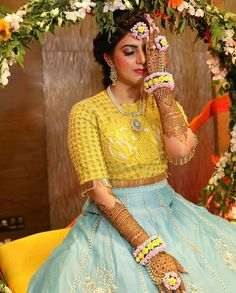 These Haldi Ceremony Outfits Are Making Us Week in The Knees Bridal Mehndi Dresses, Bridal Outfits, Bridal Lehenga, Wedding Dresses, Indian Dresses, Indian Outfits, Bangle Ceremony, Mehndi Outfit, Sangeet Outfit