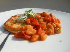 Et Tring kocht: Topinambur-Kartoffelpuffer mit Bohnengemüse und Paprika #rezept #vegetarisch