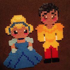 Cinderella and Prince Charming perler beads by iamm. Pearler Bead Patterns, Perler Patterns, Fuse Beads, Hama Beads, Pearl Beads Pattern, Peler Beads, Pixel Pattern, Iron Beads, Melting Beads